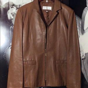 Jones New York- leather coat- gold hardware.